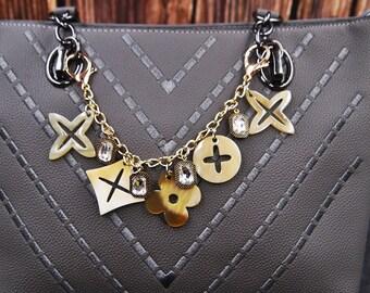 a7de3687cc9a65 HandBag Charm Chain Clover Charm Chain Designer Handbag Charm Designer Charm  Gift for Her Gift for Mom MC2024