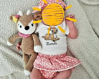 Crochet Deer, Music Box, Amigurumi, Cuddly Toy, Handmade, Gift, Birth, Birthday, Baby, Bambi, Deer Rita, Leamigurumi