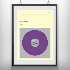 Prince purple rain vinyl minimal music poster minimalist