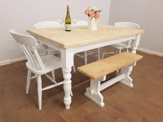 Stunning Shabby Chic Table Chairs And Gorgeous Bench Etsy