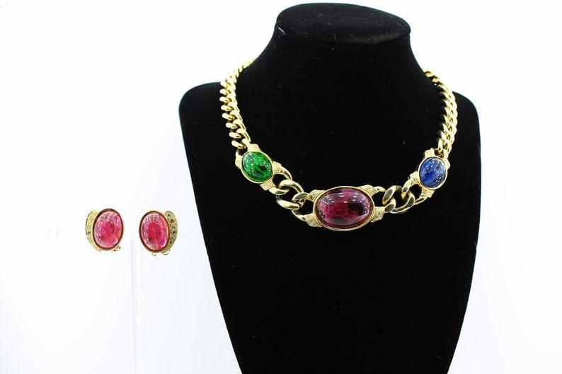 Vintage Glass Cabochon Necklace Earring Demi Parure Set  Faux Emerald Ruby /& Sapphire Costume Jewelry