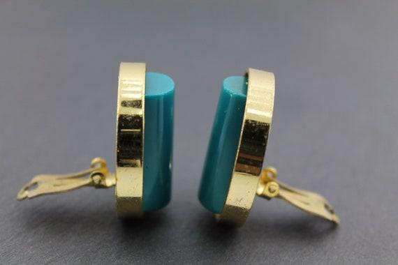 LANVIN – Vintage Lucite Earrings in Golden Metal … - image 8