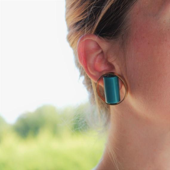 LANVIN – Vintage Lucite Earrings in Golden Metal … - image 2