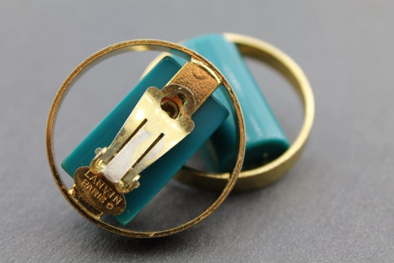 LANVIN – Vintage Lucite Earrings in Golden Metal … - image 3