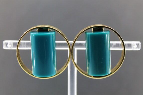 LANVIN – Vintage Lucite Earrings in Golden Metal … - image 6