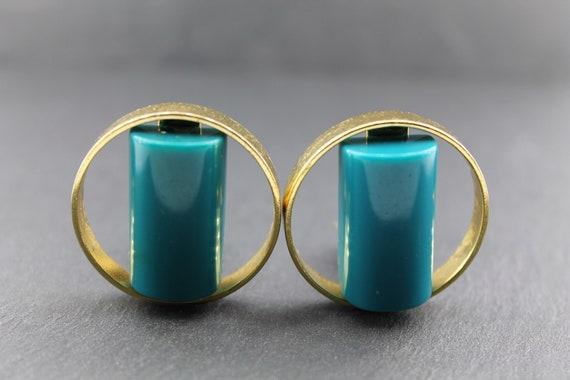 LANVIN – Vintage Lucite Earrings in Golden Metal … - image 1