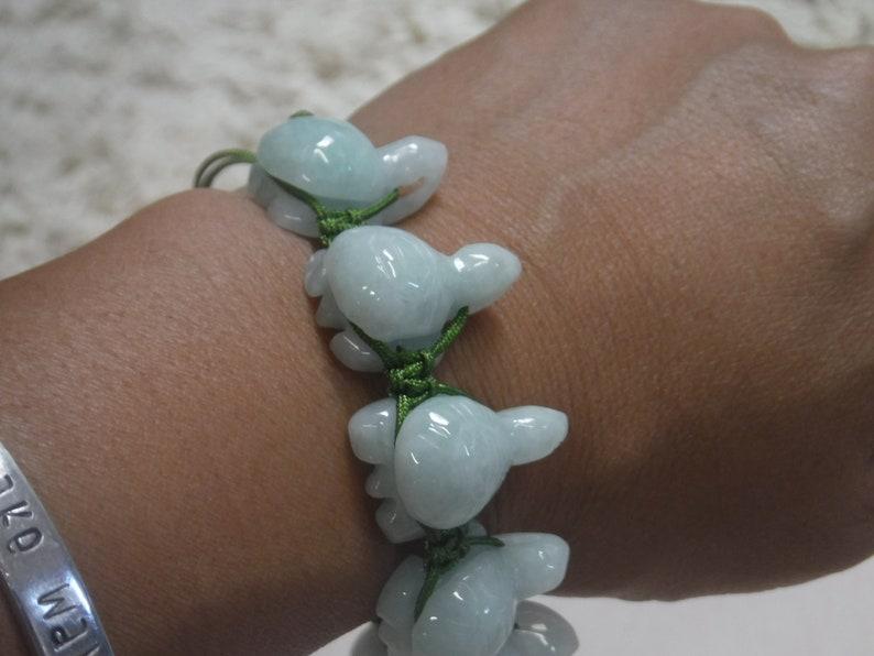Natural Burmese Jade Adjustable 9 Turtle Bracelet on Green String for Good Health and Long Life