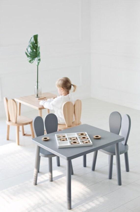 Holz Set Fur Kinder Tisch 2 Stuhle Grau Etsy