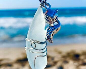 Aquatic Seafoam Fox Turquoise Pendant by Kingdom