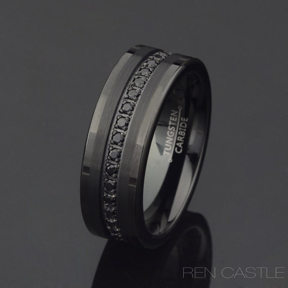 Personalized Engraving Black Wedding Band Promise Ring Z147 Tungsten Black Wedding Band Mens Tungsten Ring Mens Tungsten Wedding Band