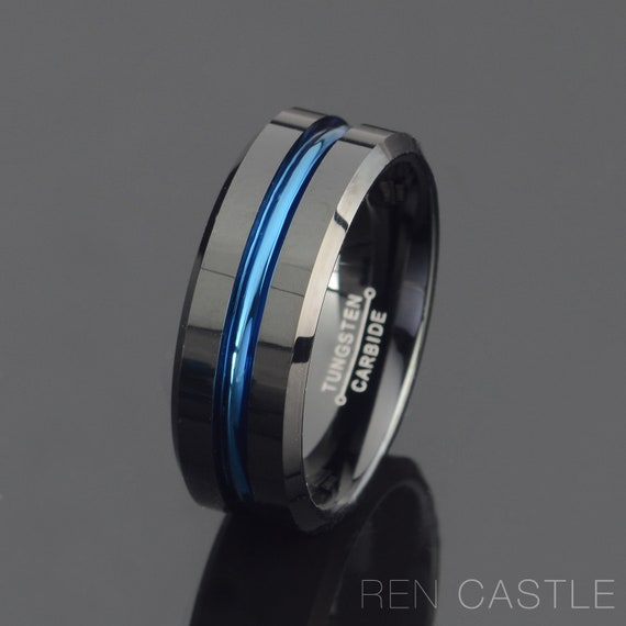 Details about  /Tungsten Wedding Band Grooved Ring 8mm Blue Black Gunmetal Color