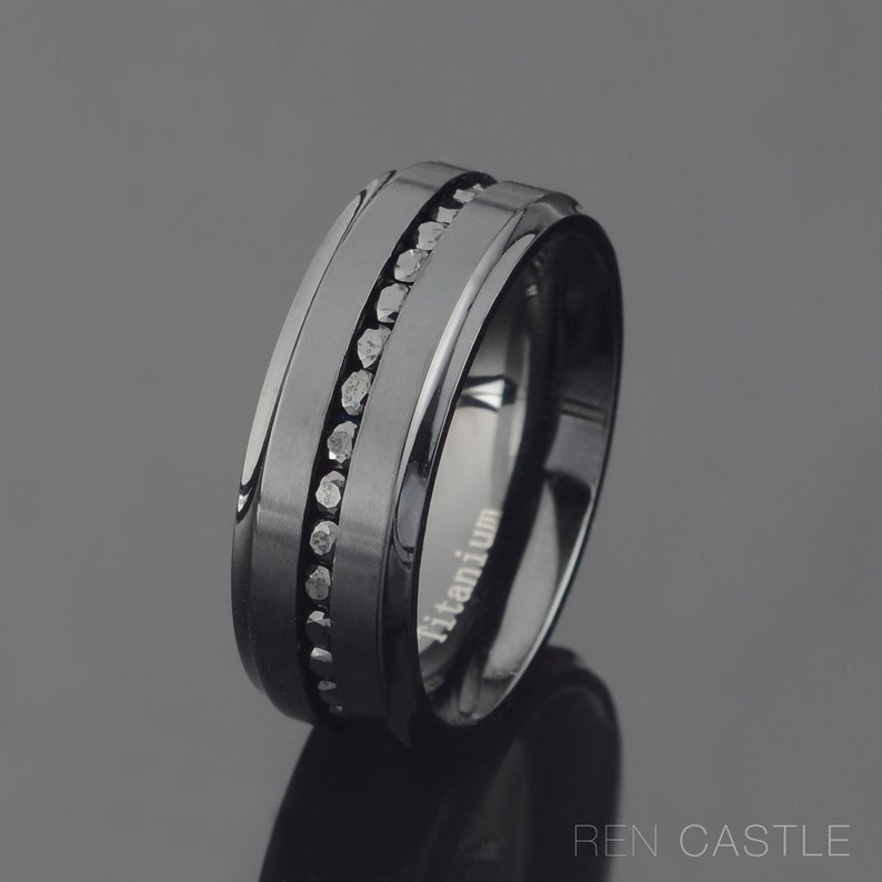 1466b66709a15 Mens Titanium Wedding Band Black Titanium Ring Channel Setting CZ Eternity  Ring 8mm Titanium Ring Personalized Ring Free Laser Engraving