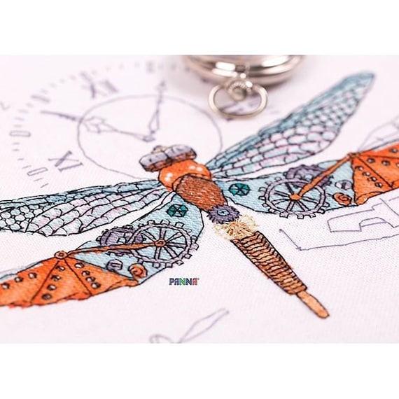 "/""Clockwork Dragonfly/"" Counted Cross Stitch Kit PANNA M-1872"