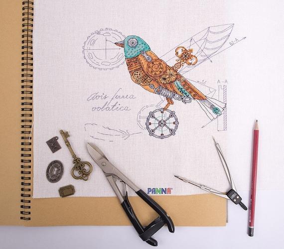 Cross stitch embroidery kit from Russia Steampunk bird Mechanical bird Clockwork bird Biomechanical bird Ornithology embroidery