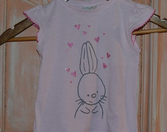 Shirt for girls in pink with bunny hearts glitter vintage size 86 -92