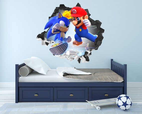 Sonic The Hedgehog Wall Decal Decor Sticker Mural Wall Hole 3d Etsy