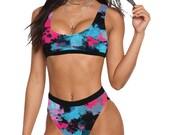 Pink and Blue Paint Splatter Sport Top High-Waisted Bikini Swimsuit