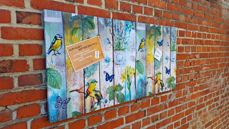 Pinboard Pinnboard Birds Lavender Garden image 0