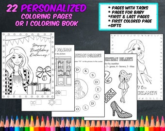 barbie coloring pages personalized digital pdf not instant download