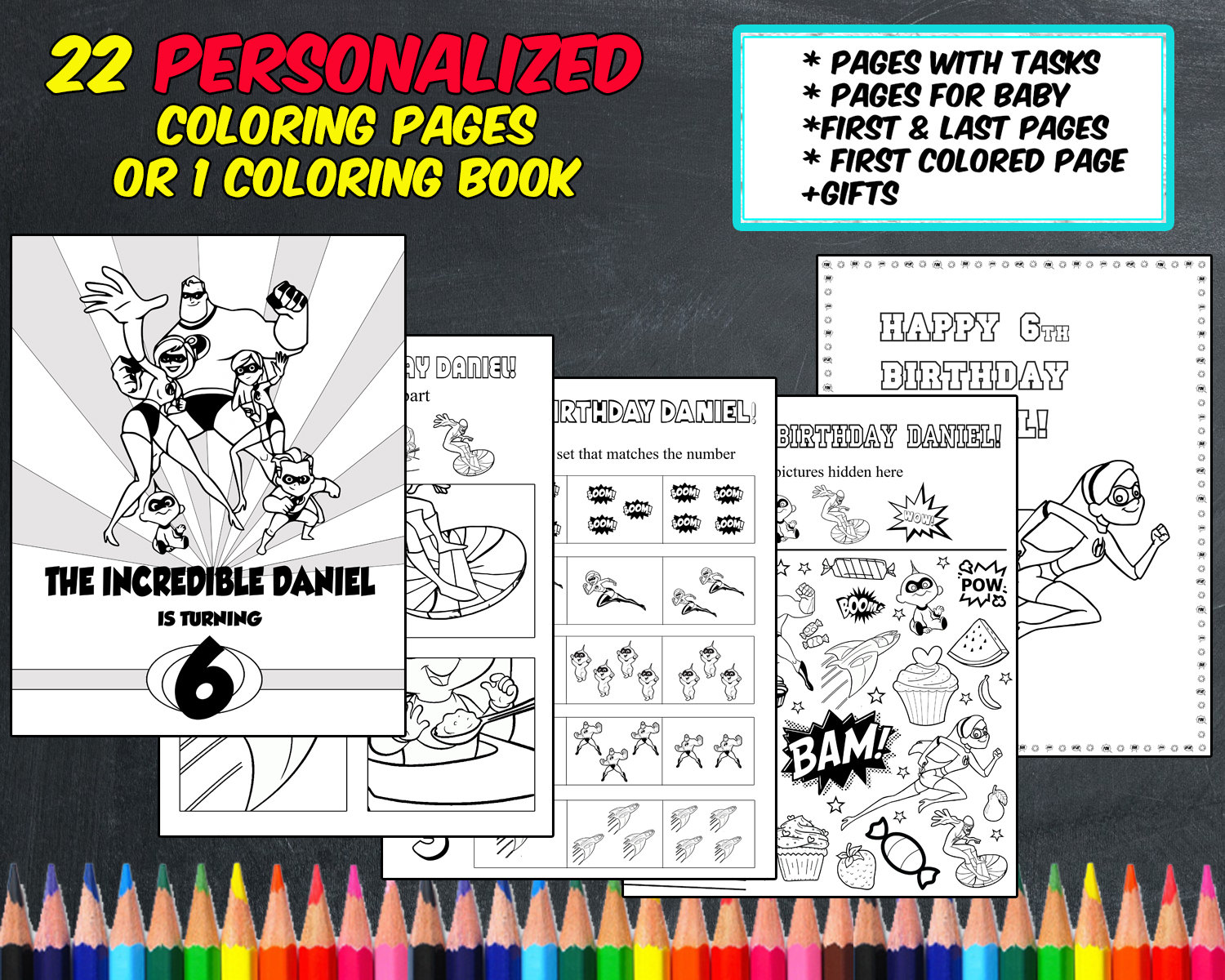 - The Incredibles Coloring Pages Personalized Digital PDF Etsy