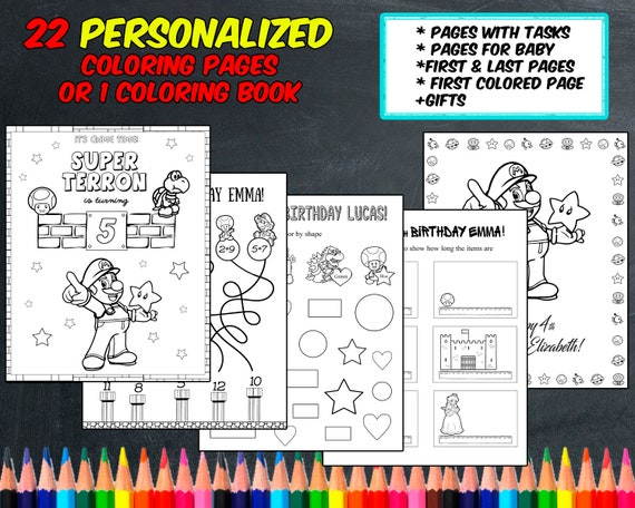 Super Mario Coloring Pages Personalized Digital Pdf Not Instant Download