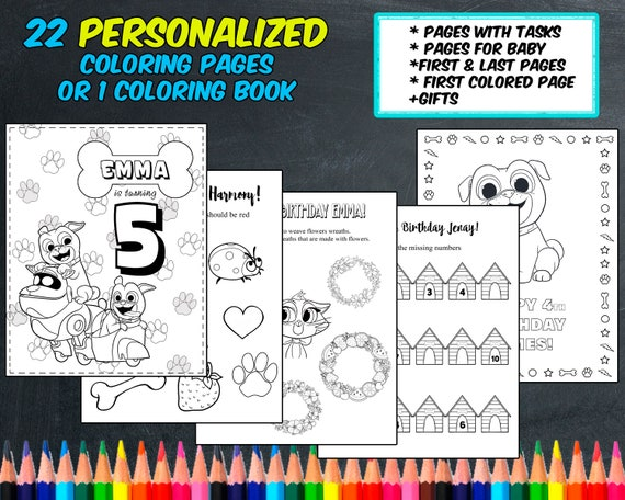 Puppy Dog Pals Coloring Pages Personalized Digital Pdf Not Instant Download