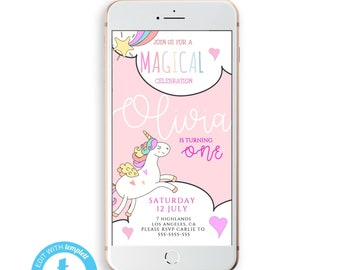Unicorn Birthday IPhone Invitation Electronic Party Invites INSTANT DOWNLOAD Text Message Invite SMS