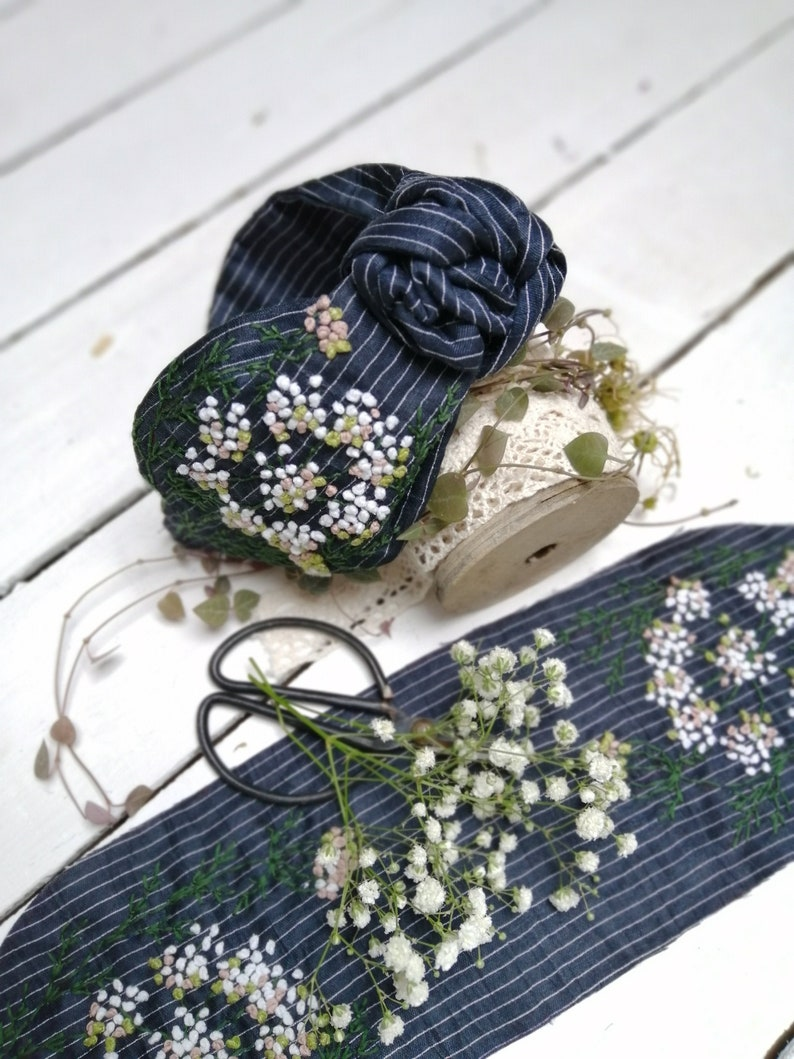 hairband linen viscose Hairbands embroidered in bohostyle