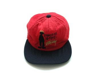 1298ebb5 90s Stussy vintage red snapback cap big logo streetwear trucker cap  skateboarding hip hop hat