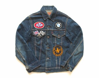e88a183a era 1960's vintage Levis big E red tab Type III trucker jacket pached STP  made in USA