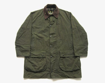 e05586165ba42 90's Barbour Border vintage hunting waxed coat wax cotton jacket olive size  42