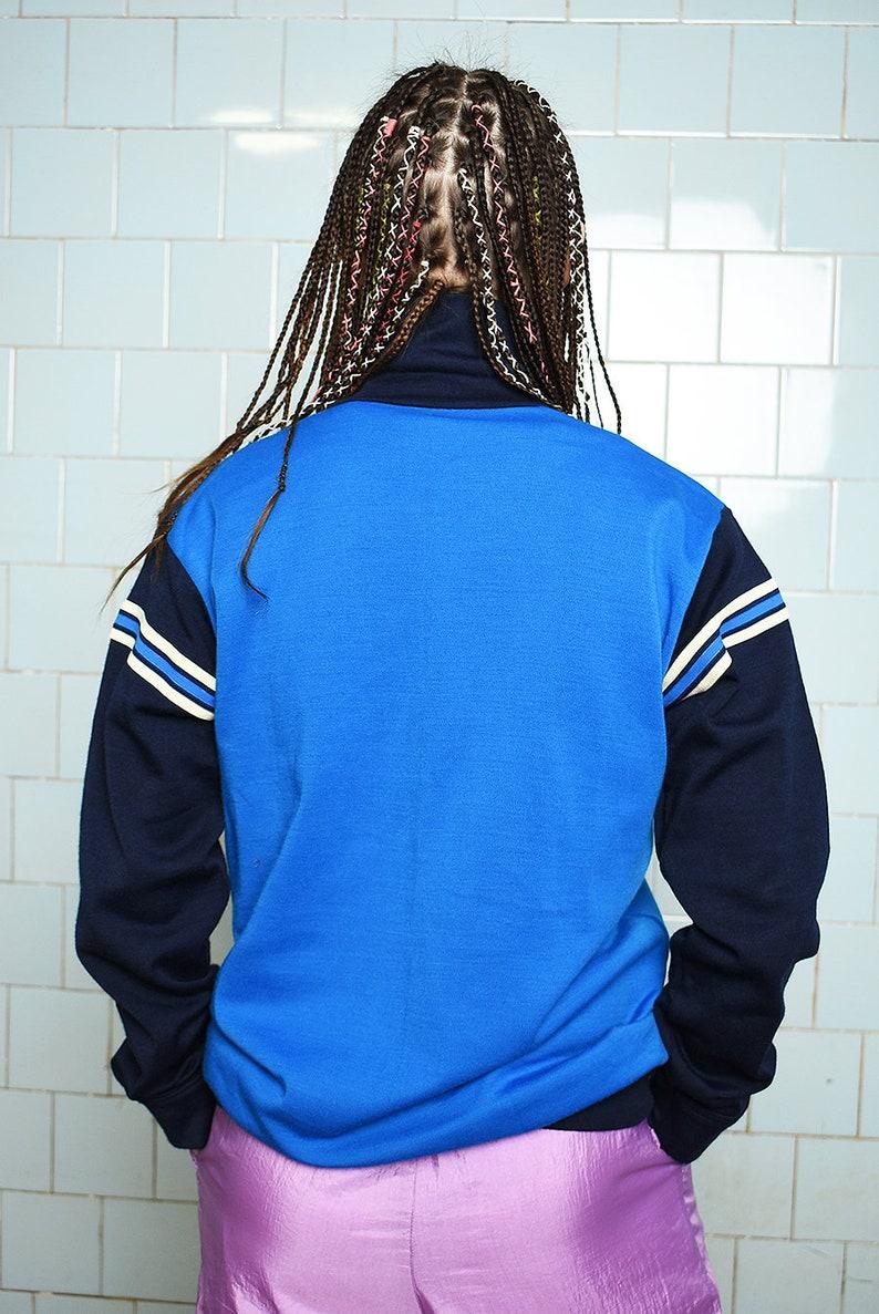 Vintage 70s sports full zip sweatshirt jumper blue pullover sweater cotton retro sportswear women woman oversized plus size retro Mod