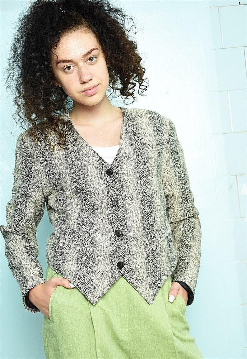 Vintage 80s Haute Boheme animal reptile print blazer jacket