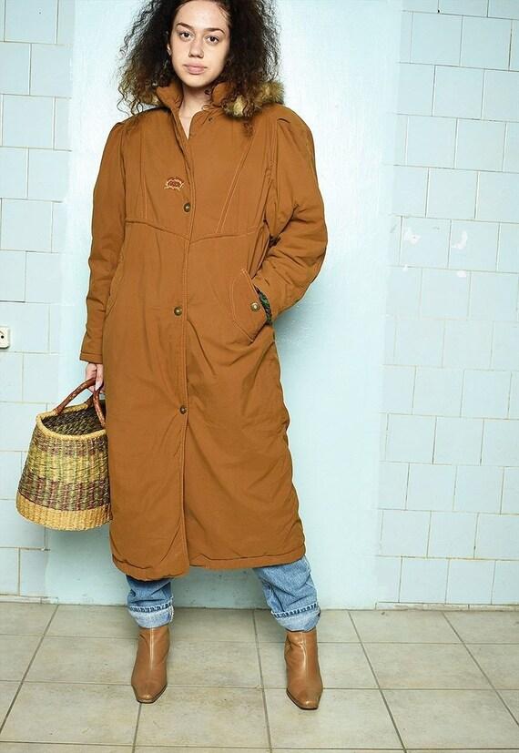 Vintage 80s Parisian overssized puffer maxi coat b