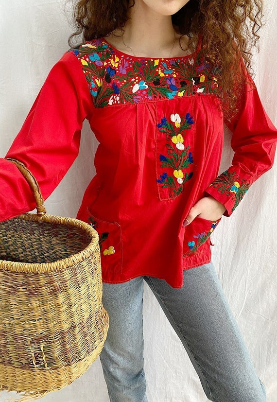 Vintage 70s Ethnic embroidered Milkmaid Tunic blou