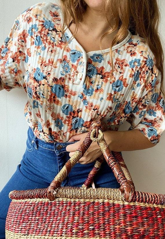Vintage 80s Botanica Floral ribbed jersey blouse t