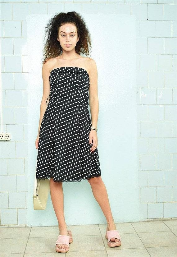 Vintage Y2K 00s polka dot print midi bandeau dress