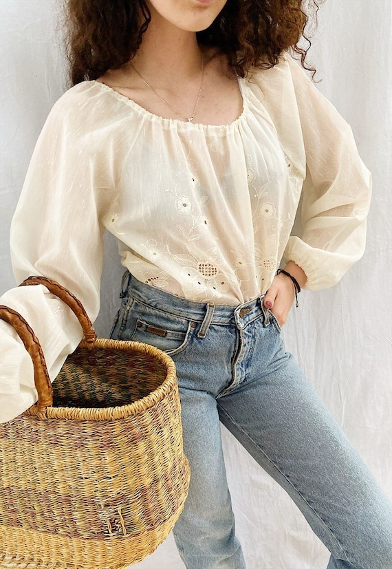 Vintage 70s Country Sheer Milkmaid Tunic blouse to