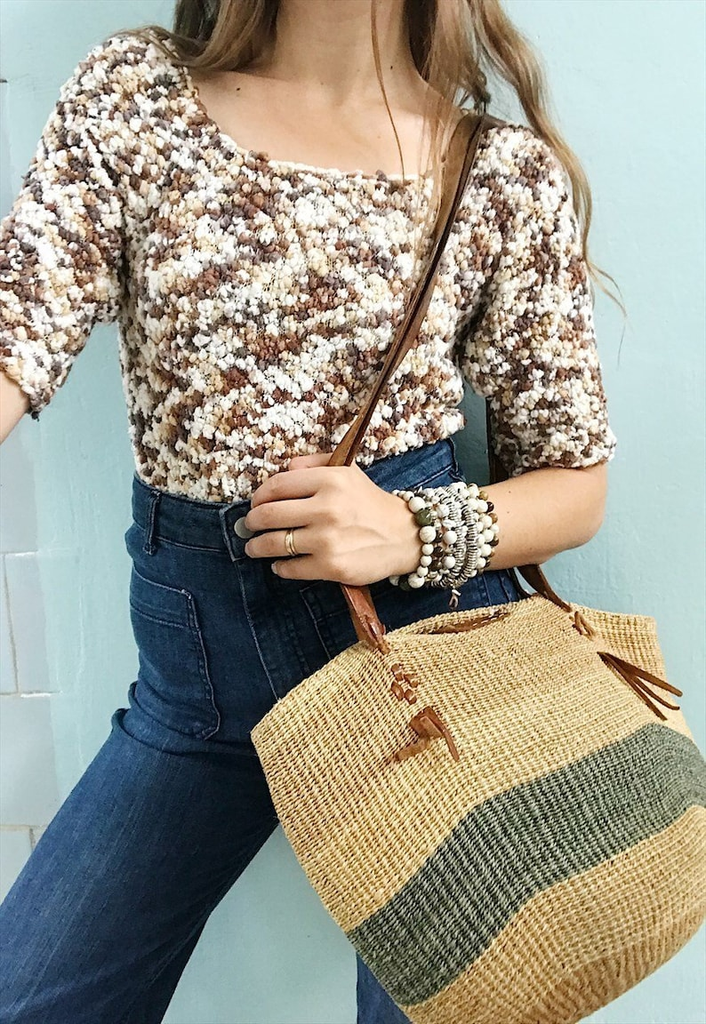 Vintage 90s bobble pom pm knit crop top blouse minimalist