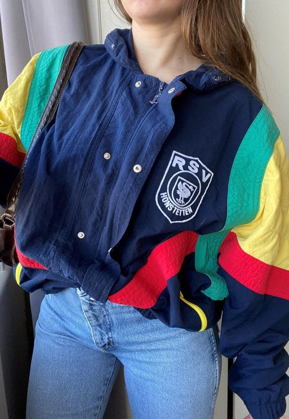 Vintage 80s colorful shell oversized bomber jacket