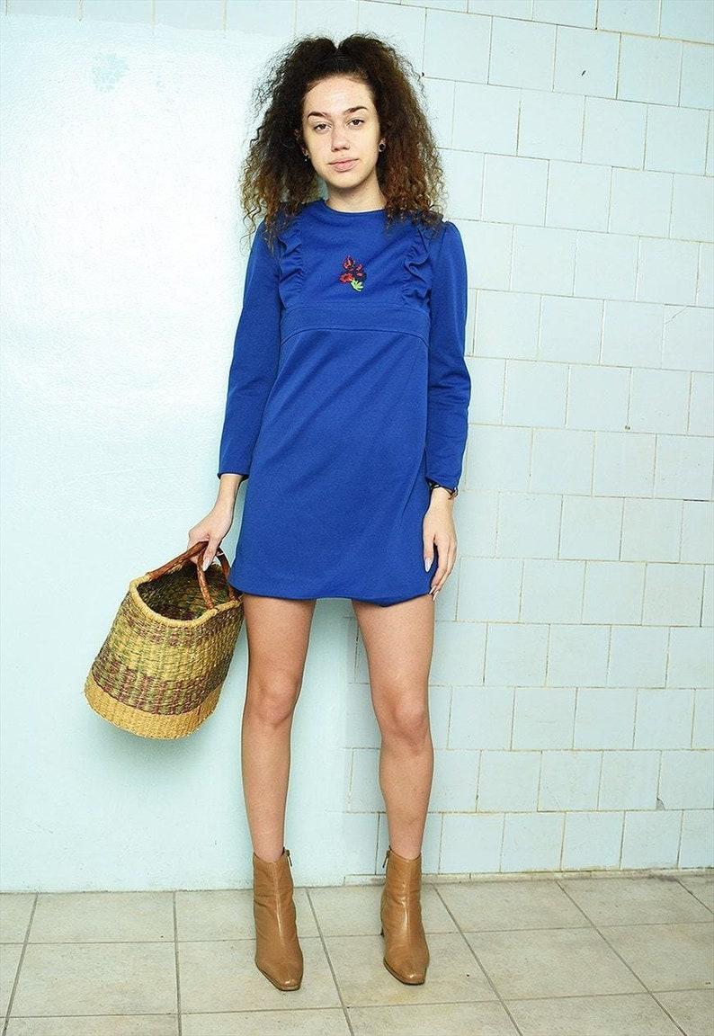 Vintage 60s Mod Boho Twiggy midi Parisian dress blue