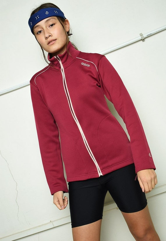Vintage 70s retro ADIDAS tracksuit sports maroon jacket women  580304813