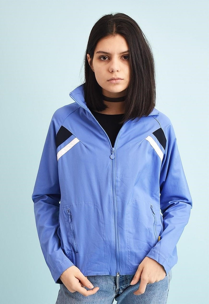 76921aad46 90s NIKE tracksuit sports jacket top vintage womens woman blue ladies  pastel vtg 1990s raver skater size small uk 10 windbreaker retro vtg