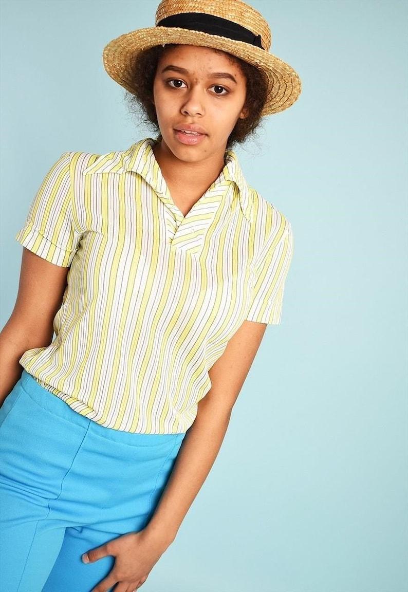 Vintage 70/'s retro Paris chic sheer Mod festival top blouse mid century modern womens woman ladies Mod 1970s 1960s hippie Boho shabby stripe