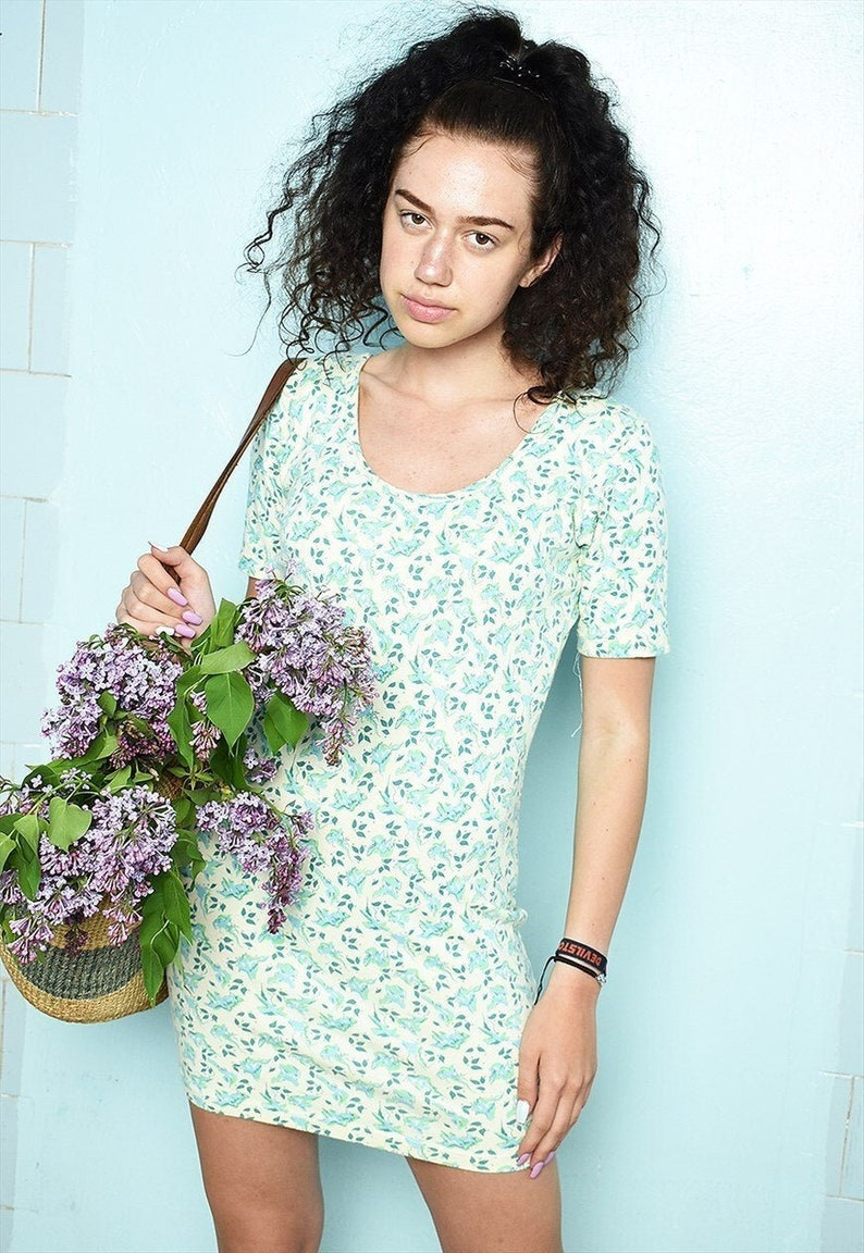 Vintage 90s floral festival Boho chic mini tube dress