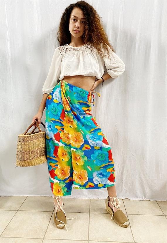 Vintage 90s Boho wrap up floral festival maxi skirt beach