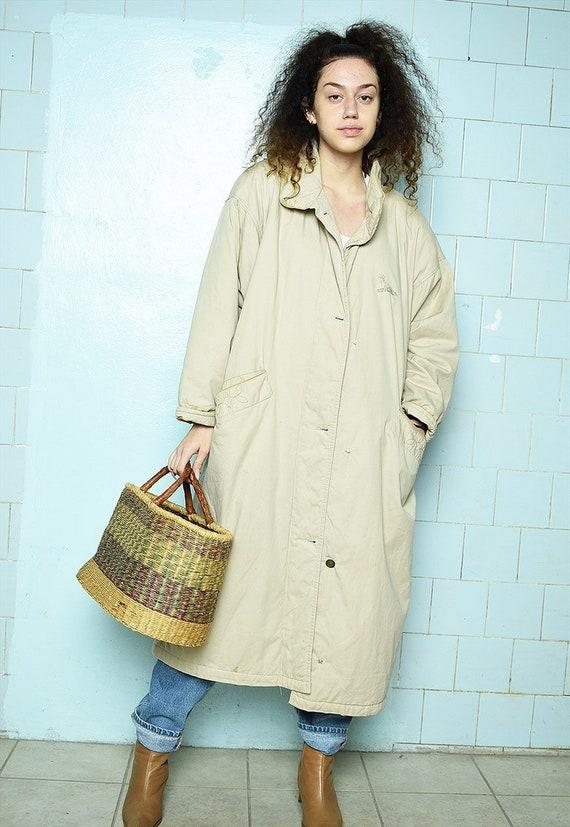 Vintage 80s Parisian oversized puffer maxi coat be