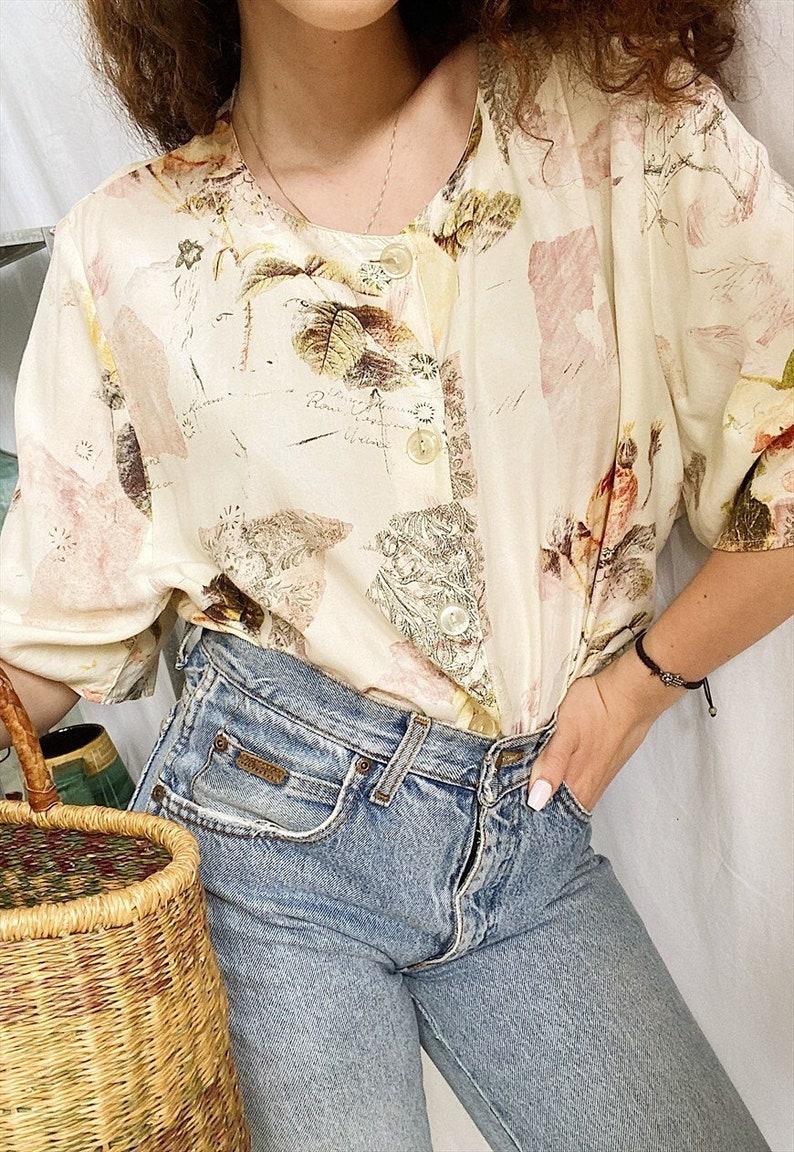 Vintage 80s Botanica Floral print Boheme blouse top