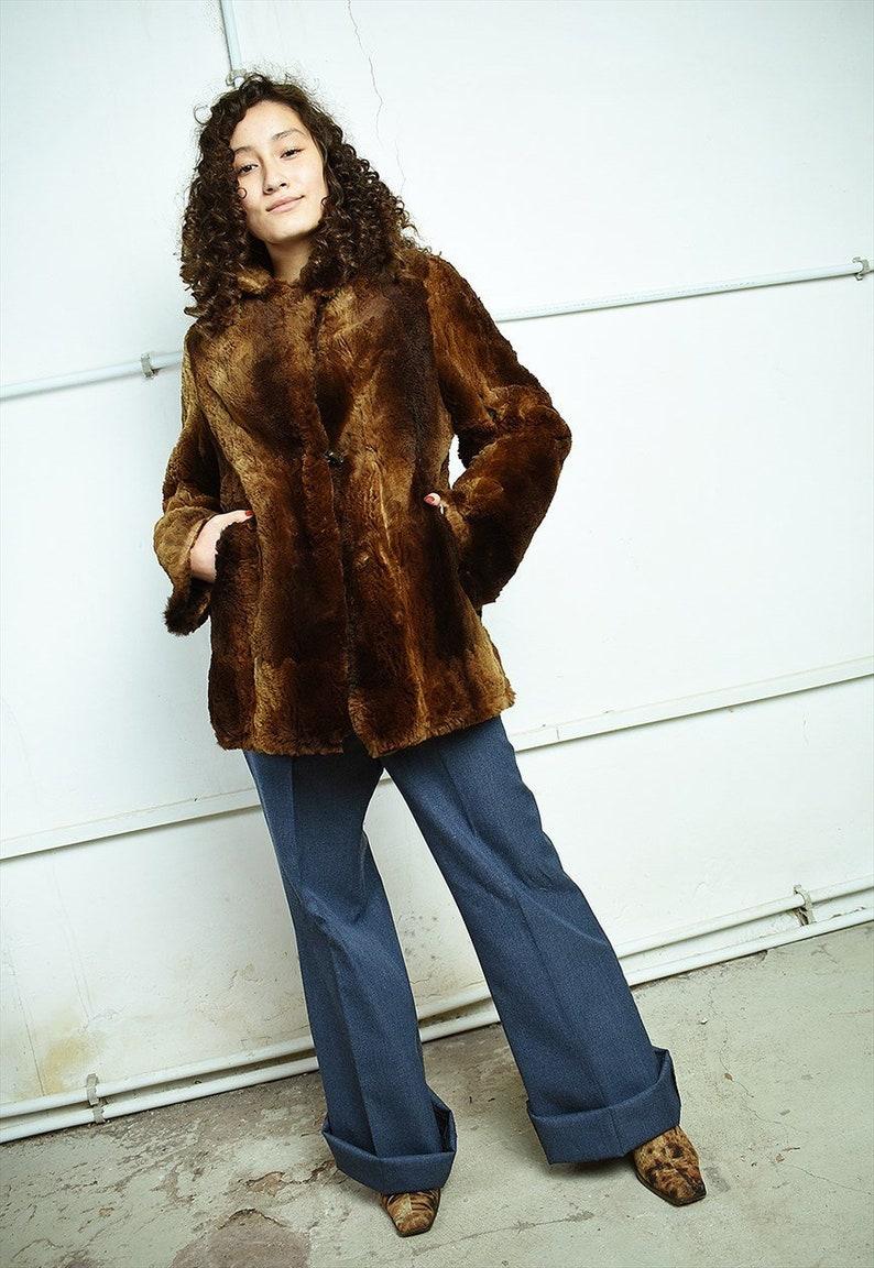 Vintage 50/'s retro real fur Boho brown coat