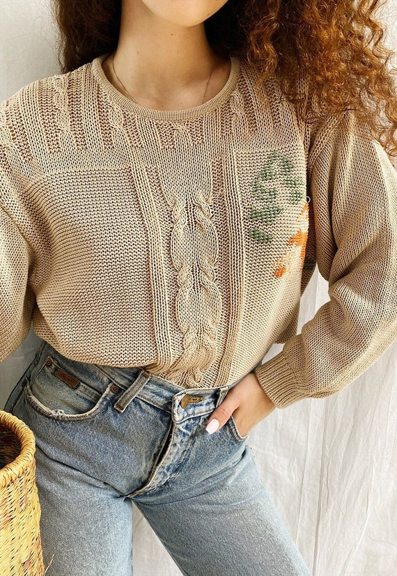 Vintage 80s Milkmaid Floral cross stitched jumper